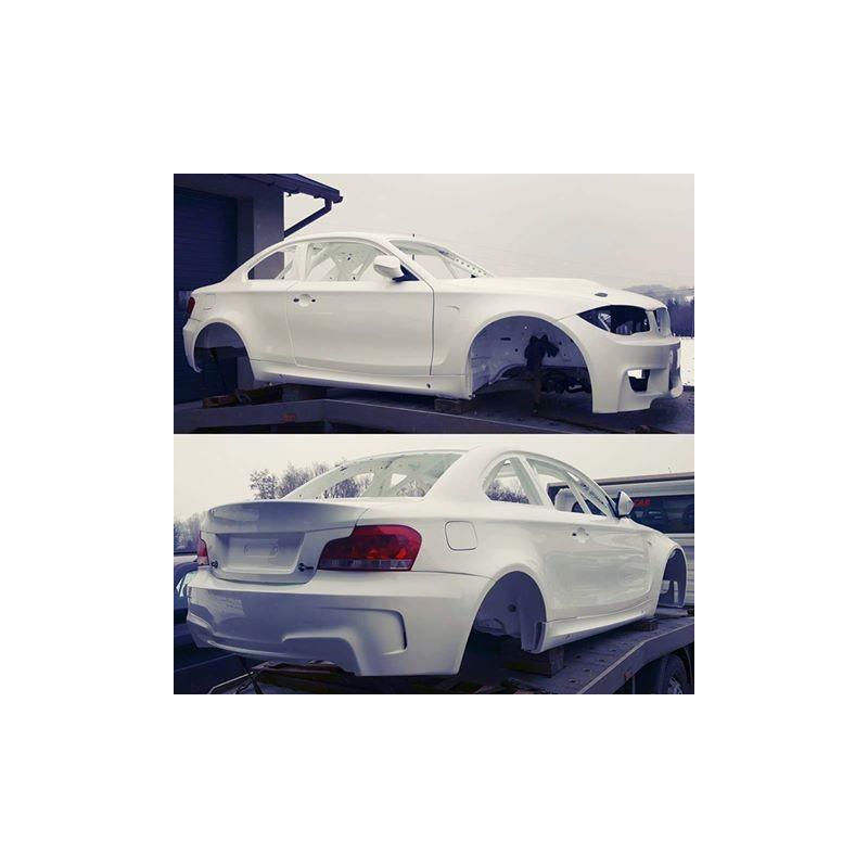 1M fiberglass rear bumper replica for BMW E82 1 series